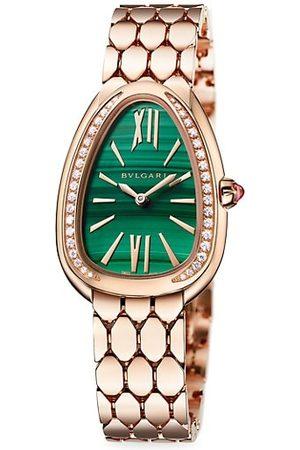 Bvlgari Lady Serpenti Seduttori 18K Rose , Diamond & Malachite Dial Bracelet Watch