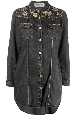 A.N.G.E.L.O. Vintage Cult 1990s appliqué detailing denim shirt-dress