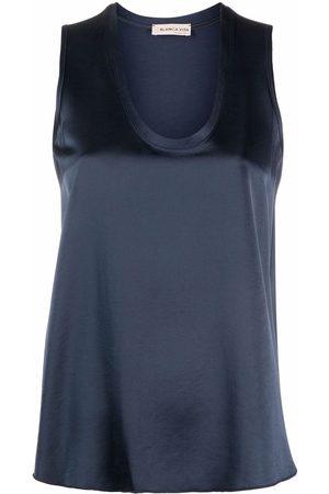 BLANCA Satin scoop-neck tank top