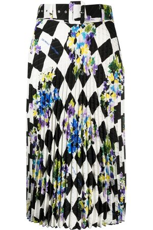 OFF-WHITE Women Printed Skirts - Check plisse printed skirt