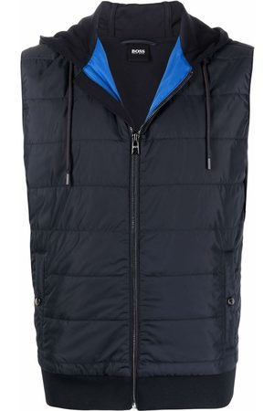 HUGO BOSS Quilted-panel hooded gilet