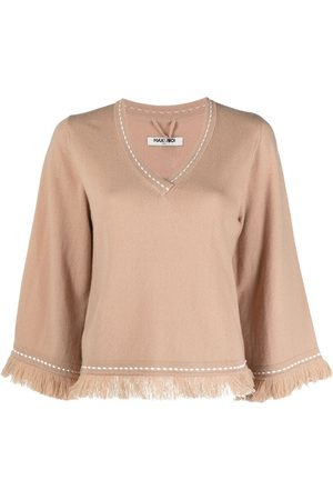 MAX & MOI Frayed contrast-stitch jumper