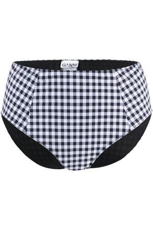 Ganni Check print bikini bottoms