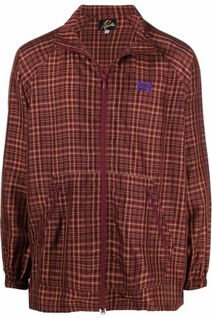 Pins & Needles Logo-embroidered checked bomber jacket