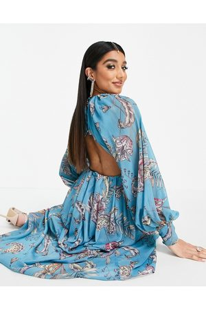 ASOS Maxi dress with blouson sleeve in paisley print