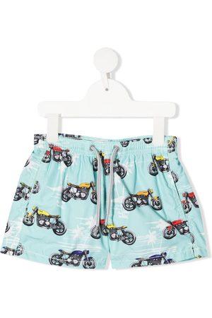 MC2 SAINT BARTH Boys Swimming Briefs - Biker-print elasticated-waist swim shorts