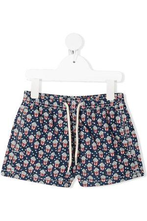MC2 SAINT BARTH Boys Swimming Briefs - Popcorn-motif drawstring-waist swim shorts