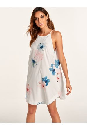 YOINS Women Printed Dresses - Random Floral Print Halter Neck Sleeveless Dress