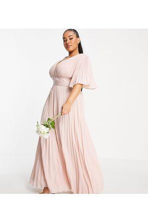 ASOS Curve Bridesmaid pleated flutter sleeve maxi dress with satin wrap waist