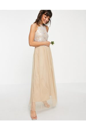 VILA Women Party Dresses - Bridal halterneck dress with sequin body and tulle skirt in champagne