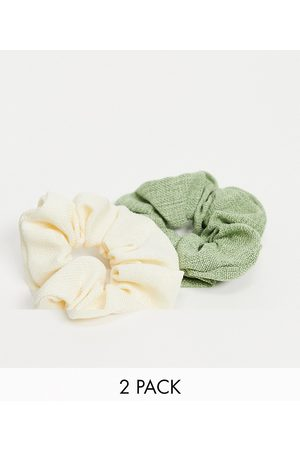ASOS Pack of 2 scrunchies in natural fabrication