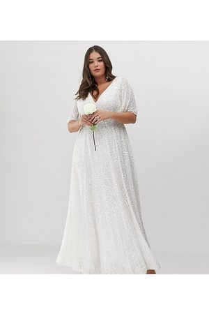 ASOS Curve flutter sleeve sequin maxi wedding dress