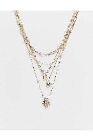 ASOS DESIGN Multirow necklace with eye and vintage pendant in tone