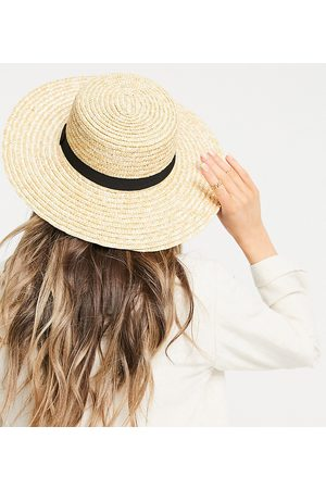 South Beach Exclusive straw boater hat with black ribbon-Neutral