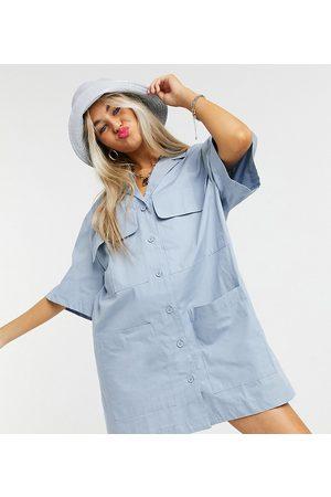 COLLUSION Revere mini shirt dress in
