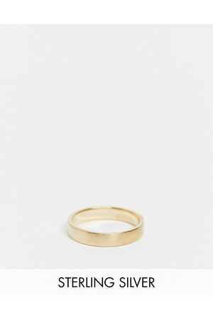 ASOS DESIGN Sterling silver band ring in brushed in 14k plate