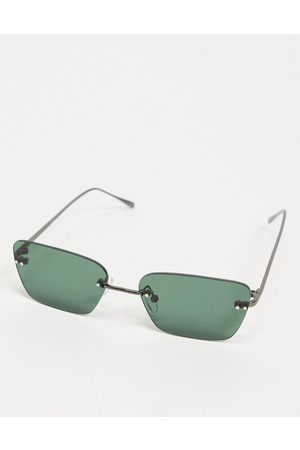ASOS Rimless retro square sunglasses with green lens