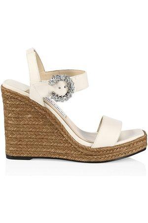 Jimmy Choo Wedged Sandals - Mirabelle Crystal-Embellished Leather Espadrille Wedge Sandals