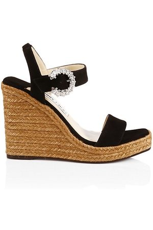 Jimmy Choo Wedged Sandals - Mirabelle Crystal-Embellished Suede Espadrille Wedge Sandals