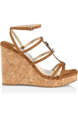 Jimmy Choo Wedged Sandals - JC Suede Platform Wedge Sandals