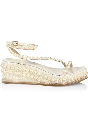 Jimmy Choo Wedged Sandals - Drive Faux Pearl-Embellished Leather Espadrille Wedge Sandals