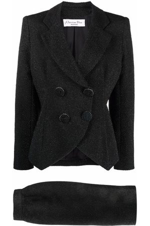 Christian Dior Pre-owned woven double-breasted skirt suit