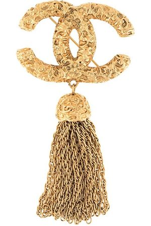 Chanel Pre-Owned 1993 chain tassel CC brooch