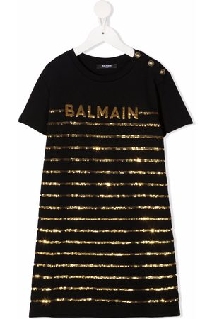 Balmain Sequinned-logo cotton dress