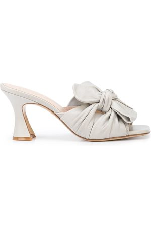 Madison.Maison Knot-bow sculpted heel mules