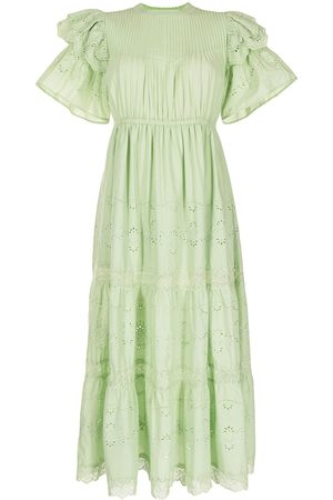 BAPY Short ruffled sleeves embroidered dress