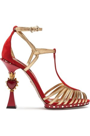 Dolce & Gabbana Sandals in suede and mordoré with sculpted heel