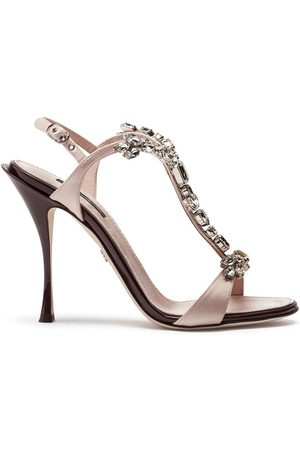 Dolce & Gabbana Satin and patent leather sandals with bejeweled detail