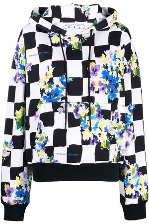 OFF-WHITE Floral check cotton hoodie