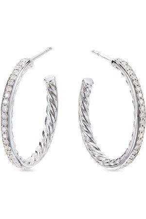 David Yurman Sterling small Pavé diamond hoops