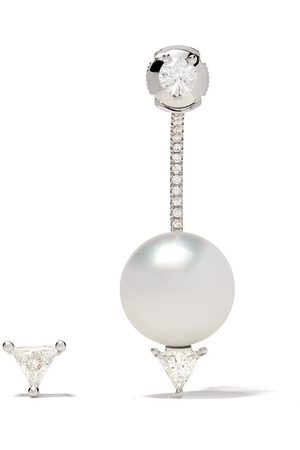 DELFINA DELETTREZ 18kt white Pearl & Triangle diamond set of earrings