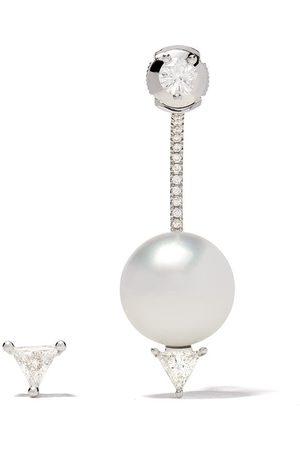 DELFINA DELETTREZ 18kt white Pearl & Triangle diamond set of earrings