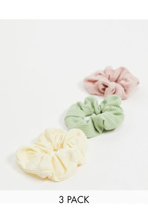 My Accessories London hair scrunchie multipack x 3 in waffle material