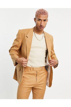 ASOS Oversized suit jacket in tobacco linen mix