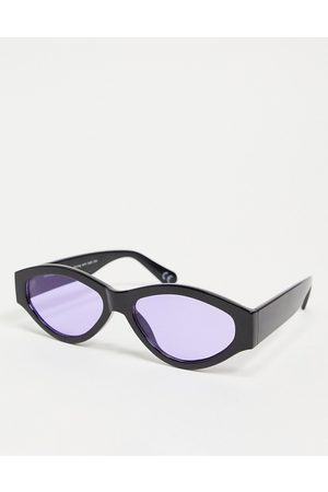 ASOS DESIGN Chunky oval sunglasses in with purple lens