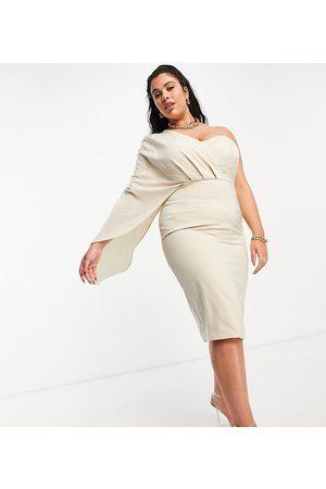Lavish Alice Exclusive corset drape cape midi pencil dress in champagne