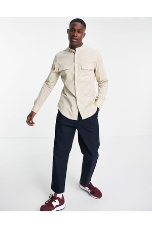 ASOS Slim fit shirt with pocket detail and grandad collar in stone-Neutral