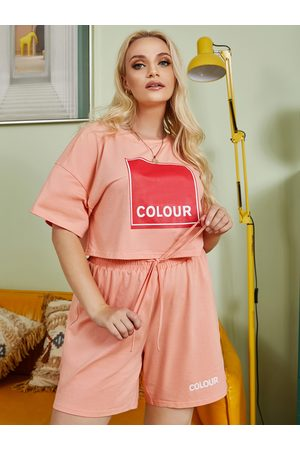 YOINS Plus Size Graphic Letter Short Sleeves Two Piece Outfit