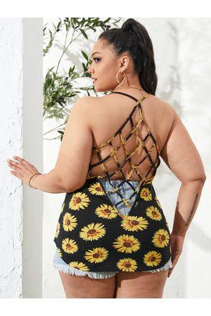 YOINS Plus Size Halter Floral Print Criss-cross Sleeveless Cami