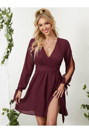YOINS Plunge Neckline Self-tie Waist Slit Sleeves Mini Dress