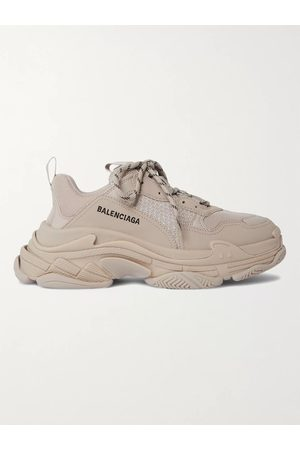 Balenciaga Men Sneakers - Triple S Mesh and Faux Leather Sneakers