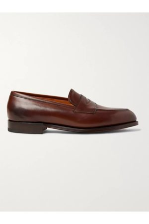 EDWARD GREEN Men Loafers - Piccadilly Leather-Trimmed Suede Penny Loafers