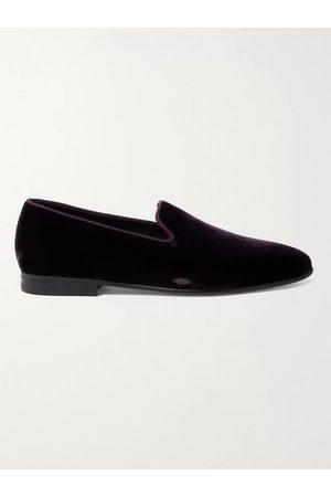Manolo Blahnik Mario Grosgrain-Trimmed Velvet Loafers