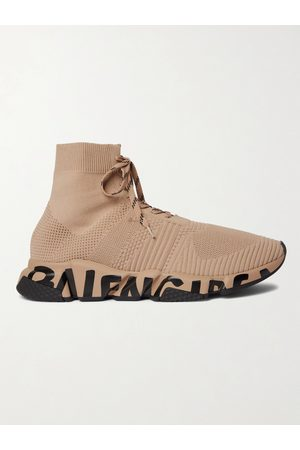 Balenciaga Speed Logo-Print Stretch-Knit Sneakers