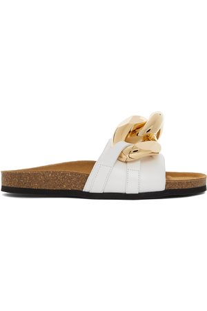 JW Anderson White Chain Loafer Slides