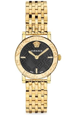 VERSACE Greca Glass Goldtone Stainless Steel Bracelet Watch